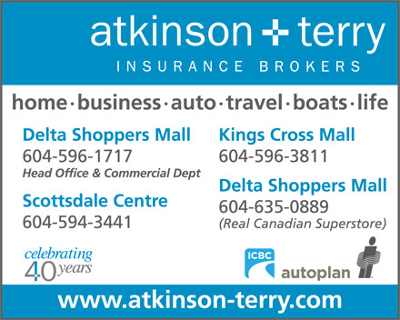 Atkinson & Terry Insurance Brokers (604-596-1717) - Display Ad