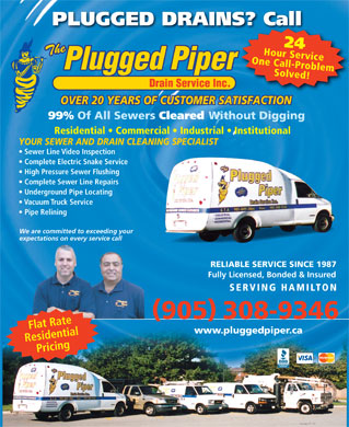 Plugged Piper Drain Service The (905-308-9346) - Display Ad