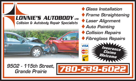 Lonnie's Auto Body Ltd (780-357-7231) - Annonce illustrée