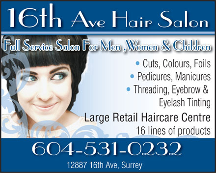 16th Ave Hair Salon (604-531-0232) - Annonce illustrée