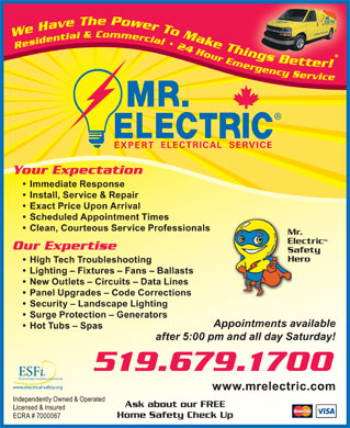 Mr Electric (519-679-1700) - Display Ad