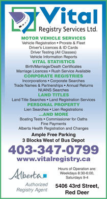 Vital registry services ltd 5406 43 st red deer ab for Alberta motor vehicle registration