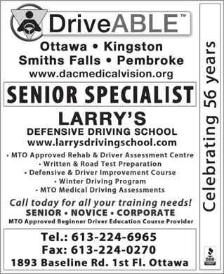 Larry's Defensive Driving School (613-224-6965) - Annonce illustrée - 56