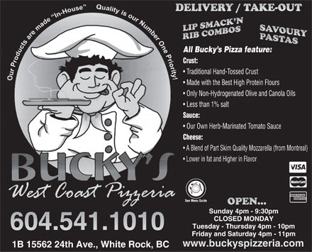 Bucky's West Coast Pizzeria (604-541-1010) - Display Ad