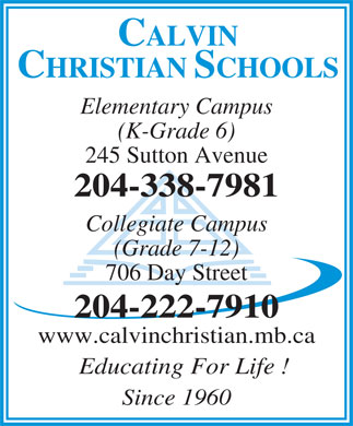 Calvin Christian Schools (204-338-7981) - Display Ad
