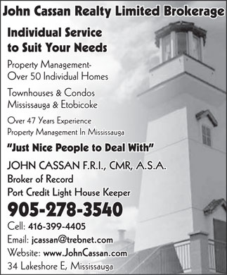 John Cassan Realty and Appraisals (905-278-3540) - Annonce illustrée