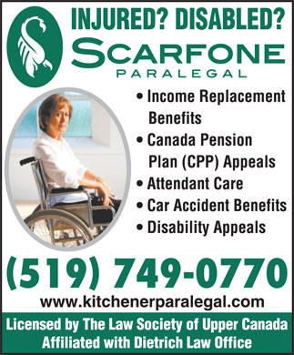 Dietrich Personal Injury and Disability Lawyers (519-749-0770) - Annonce illustrée