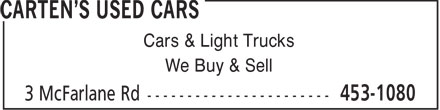 Fred Carten's Used Cars & Auto Wrecker (506-453-1080) - Annonce illustrée - Cars & Light Trucks We Buy & Sell
