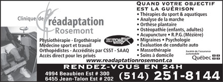Clinique de Physiothérapie Rosemont (514-251-8144) - Display Ad