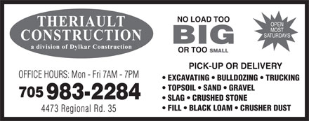Theriault Construction (705-983-2284) - Display Ad