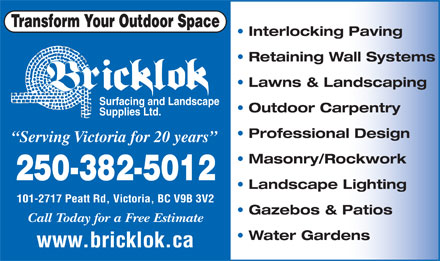 Bricklok Surfacing &amp; Landscaping (250-382-5012) - Display Ad