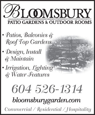 Bloomsbury Patio Gardens (604-526-1314) - Annonce illustr&eacute;e