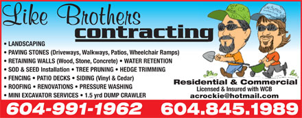 Like Brothers Contracting (604-845-1989) - Annonce illustrée