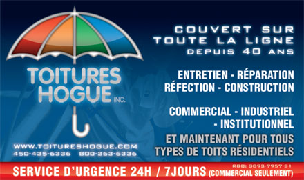 Les Toitures Hogue Inc (450-233-1059) - Annonce illustr&eacute;e
