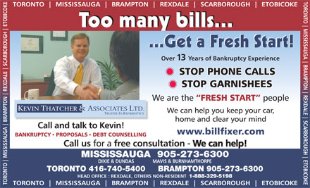Kevin Thatcher & Assoc Trustee In Bankruptcy (905-273-6300) - Annonce illustrée