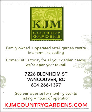 KJM Country Gardens (604-266-1397) - Display Ad
