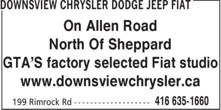Downsview Chrysler Dodge Jeep FIAT (647-497-6746) - Display Ad - On Allen Road North Of Sheppard GTA'S factory selected Fiat studio www.downsviewchrysler.ca  On Allen Road North Of Sheppard GTA'S factory selected Fiat studio www.downsviewchrysler.ca  On Allen Road North Of Sheppard GTA'S factory selected Fiat studio www.downsviewchrysler.ca  On Allen Road North Of Sheppard GTA'S factory selected Fiat studio www.downsviewchrysler.ca  On Allen Road North Of Sheppard GTA'S factory selected Fiat studio www.downsviewchrysler.ca  On Allen Road North Of Sheppard GTA'S factory selected Fiat studio www.downsviewchrysler.ca  On Allen Road North Of Sheppard GTA'S factory selected Fiat studio www.downsviewchrysler.ca