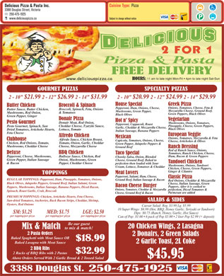 Delicious Pizza & Pasta Inc (250-475-1925) - Menu