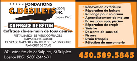 Fondations C. Désilets (2009 Inc) (450-589-5845) - Display Ad