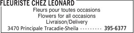 Fleuriste Chez Léonard (506-395-6377) - Annonce illustrée======= - Fleurs pour toutes occasions Flowers for all occasions Livraison/Delivery