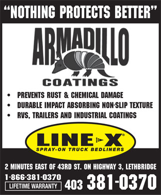 Armadillo Coatings Lethbridge (403-381-0370) - Display Ad