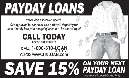 310-LOAN Payday Loans (1-855-380-2675) - Display Ad