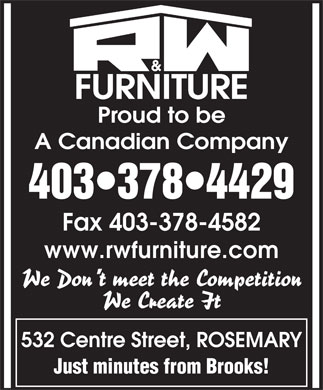 R &amp; W Furniture (403-378-4429) - Annonce illustr&eacute;e