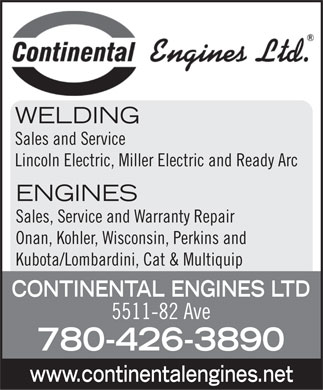 Continental Engines Ltd (780-426-3890) - Display Ad