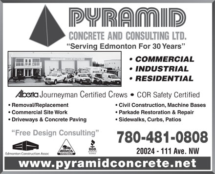 Pyramid concrete consulting ltd 20024 111 ave nw for Industrial design consultancy ltd