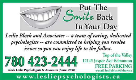 Block Leslie Psychologists & Associates (780-423-2444) - Annonce illustrée