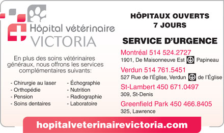 Hopital Veterinaire Victoria (514-800-9486) - Display Ad