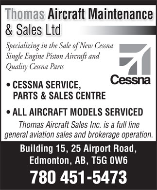 Thomas Aircraft Maintenance Ltd (780-451-5473) - Display Ad