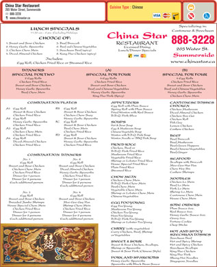 China Star Restaurant (902-888-3228) - Menu