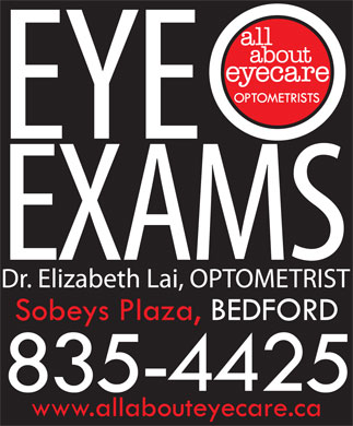 ALL ABOUT EYECARE OPTOMETRISTS - EYE EXAMS BEDFORD SOBEYS PLAZA (902-835-4425) - Annonce illustrée