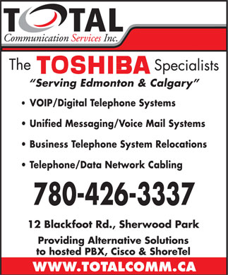 Total Communication Services Inc (780-426-3337) - Annonce illustrée
