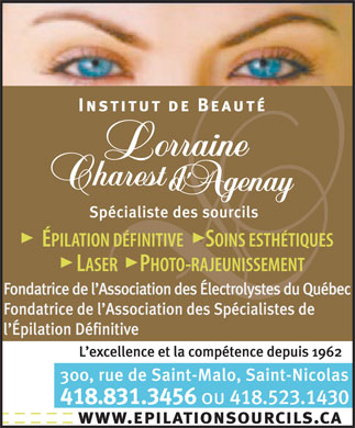 &Agrave; L'Institut de Beaut&eacute; Lorraine Charest (418-831-3456) - Annonce illustr&eacute;e