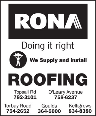RONA (1-855-215-8748) - Annonce illustr&eacute;e - ROOFING Topsail Rd