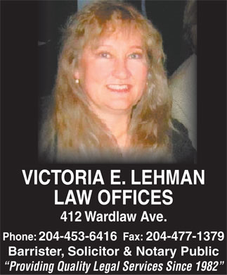 Lehman Victoria E (204-453-6416) - Display Ad