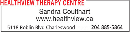 Healthview Therapy Centre (204-885-5864) - Display Ad - Sandra Coulthart www.healthview.ca  Sandra Coulthart www.healthview.ca