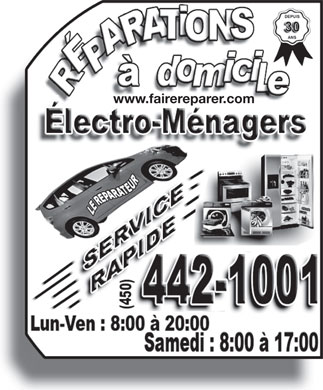Le Réparateur (450-442-1001) - Display Ad - www.fairereparer.com