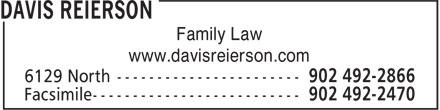 Davis Reierson (902-492-2866) - Annonce illustrée======= - Family Law - www.davisreierson.com