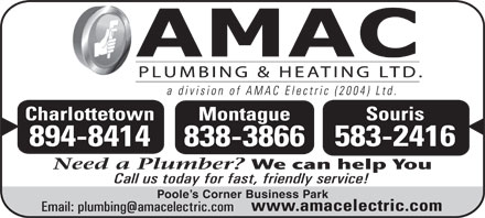 AMAC Plumbing & Heating Ltd (902-838-3866) - Display Ad