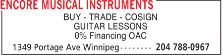 Gerg's Music (204-788-0967) - Display Ad - BUY - TRADE - COSIGN GUITAR LESSONS 0% Financing OAC
