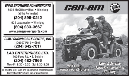 Enns Brothers Powersports (204-895-0212) - Annonce illustr&eacute;e