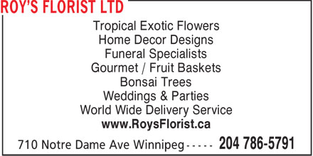 Roy's Florist Ltd (204-786-5791) - Annonce illustrée - Tropical Exotic Flowers Home Decor Designs Funeral Specialists Gourmet / Fruit Baskets Bonsai Trees Weddings & Parties World Wide Delivery Service www.RoysFlorist.ca