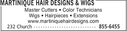 Martinique Hair Designs & Wigs (506-800-0631) - Annonce illustrée - Master Cutters   Color Technicians Wigs   Hairpieces   Extensions www.martiniquehairdesigns.com