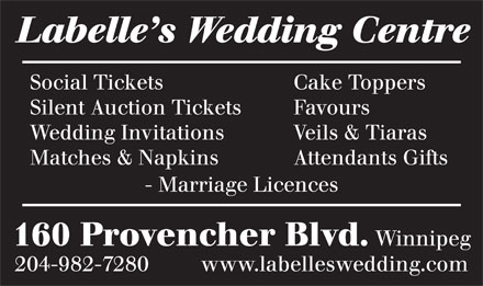 LaBelle's Wedding Centre (204-982-7280) - Annonce illustrée