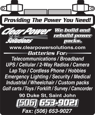 Clear Power Solutions Inc (506-653-9021) - Annonce illustrée