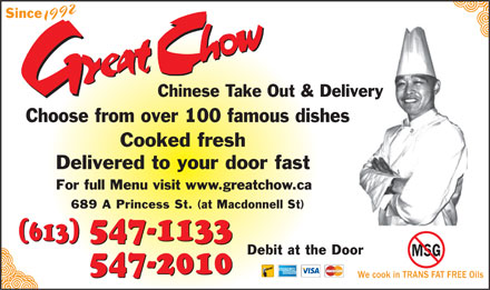 Great Chow Chinese Takeout &amp; Delivery (613-547-1133) - Display Ad