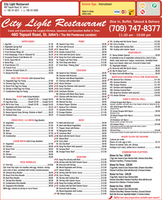 City Light Restaurant (709-747-8377) - Display Ad